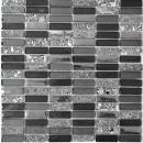 Mosaik Fliese Transluzent silber grau schwarz Rechteck Glasmosaik Crystal Stein schwarz MOS87-SM88