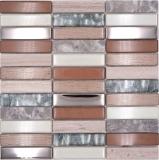 Mosaik Fliese Transluzent hellbraun silber grau Rechteck Glasmosaik Crystal Stein hellbraun MOS87-68X