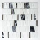 Mosaikfliese Transluzent weiß Leiter Glasmosaik Crystal Stein EP weiß MOS87-0103