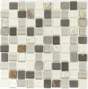 Mosaikfliese Transluzent weiß grau rost Rechteck Glasmosaik Crystal Stein rustik MOS82-0102