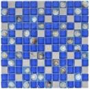 Mosaikfliese Transluzent blau grau Glasmosaik Crystal Stein Muschel blau grau MOS82C-0402