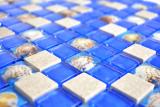 Mosaik Fliese Transluzent blau grau Glasmosaik Crystal Stein Muschel blau grau MOS82C-0402
