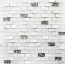 Mosaik Fliese Transluzent weiß Brick Glasmosaik Crystal Stein Muschel weiß MOS87-B01S