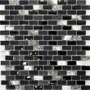 Mosaik Fliese Transluzent schwarz Brick Glasmosaik Crystal Stein Muschel schwarz MOS87-B03S