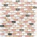 Mosaik Fliese Transluzent beige Brick Glasmosaik Crystal Stein Muschel beige MOS87-B05S
