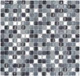 Mosaikfliese Transluzent klar grau silber Glasmosaik Crystal Stein klar grau silber MOS92-0208