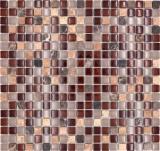 Mosaikfliese Transluzent braun Glasmosaik Crystal Stein braun BAD WC Küche WAND MOS92-1304