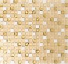 Mosaikfliese Transluzent wieß gold Glasmosaik Crystal Stein weiß matt gold MOS92-1201