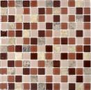 Mosaik Fliese Transluzent beige braun Glasmosaik Crystal Marmor beige braun emperador MOS67-M452