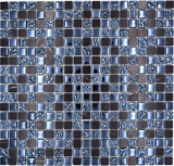 Mosaikfliese Transluzent grau schwarz Glasmosaik Crystal Stein grau schwarz MOS92-0302
