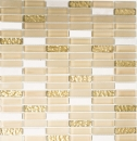 Mosaik Fliese Transluzent weiß gold Stäbchen Glasmosaik Crystal Stein weiß matt gold MOS87-1202