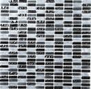 Mosaik Fliese Transluzent grau Stäbchen Glasmosaik Crystal Stein grau matt schwarz MOS87-1403