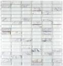 Mosaik Fliese Transluzent weiß Stäbchen Glasmosaik Crystal Stein weiß weiß matt MOS87-0101