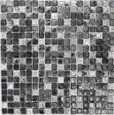 Mosaikfliese Transluzent weiß silber schwarz Glasmosaik Crystal Stein weiß silber schwarz Struktur MOS92-Z02EU