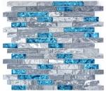 Mosaik Fliese Transluzent grau Verbund Glasmosaik Crystal Stein grau blau MOS87-0404