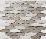 Mosaikfliese Transluzent grau Bootsform Glasmosaik Crystal Stein grau MOS85-BM59
