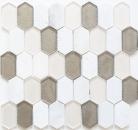Mosaikfliese Transluzent beige Hexagonal Glasmosaik Crystal Stein weiß beige grau MOS85-IN69