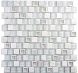 Mosaikfliese Transluzent Kunststoff weiß Glasmosaik Crystal Stein weiß MOS82BM-0101