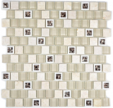 Mosaikfliese Transluzent Kunststoff beige Glasmosaik Crystal Stein beige MOS82BM-0115