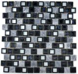 Mosaikfliese Transluzent Keramik Kunststoff grau schwarz Glasmosaik Crystal Stein Keramik grau schwarz MOS82BM-0119