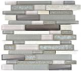 Mosaik Fliese Transluzent Keramik grau Verbund Glasmosaik Crystal Stein Keramik grau MOS87SO-0223