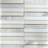 Mosaikfliese Transluzent Keramik weiß Rechteck Glasmosaik Crystal Stein Keramik Arktis weiß MOS40-ICE150