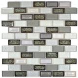 Mosaik Fliese Transluzent Keramik grau Brick Glasmosaik Crystal Keramik Arktis grau MOS83IC-0219