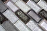 Mosaikfliese Transluzent Keramik grau Brick Glasmosaik Crystal Keramik Arktis grau MOS83IC-0219