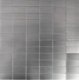 Mosaik Fliese selbstklebend Aluminium silber metall Rechteck metall MOS200-22M50