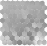 Mosaik Fliese selbstklebend Aluminium silber metall Hexagon metall MOS200-22MHX
