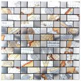 Mosaikfliese selbstklebend Aluminium silber Kombination metall Weltkarte Silber MOS200-KA87S