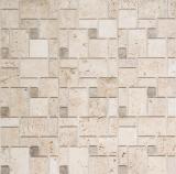 Mosaik Fliese selbstklebend Travertin Naturstein beige Kombination Travertin beige MOS200-4CM14