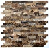 Mosaik Fliese selbstklebend Marmor Naturstein dunkelbraun Naturstein emperador dunkel MOS200-0113