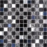 Mosaikfliese selbstklebend Transluzent Edelstahl schwarz Glasmosaik Crystal Stahl schwarz Glas MOS200-4CM26