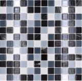 Mosaikfliese selbstklebend Transluzent weiß grau schwarz Glasmosaik Crystal grau schwarz weiß wisch MOS200-4CM28