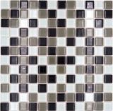 Mosaikfliese selbstklebend Transluzent braun schwarz weiß Glasmosaik Crystal braun schwarz weiß MOS200-4CM30