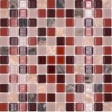 Mosaikfliese selbstklebend Transluzent Stein beige braun Glasmosaik Crystal Stein beige braun emperador MOS200-4M352