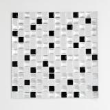 Mosaik Fliese selbstklebend Vinyl Folie Vinyl silber schwarz weiß Vinyl Squares Black and White Stahls 4er Pack MOSVinyl-24082