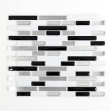 Mosaik Fliese selbstklebend Vinyl Folie Vinyl silber schwarz weiß Vinyl Calm silber oblong 4er Pack MOSVinyl-24034