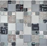 Transparentes Crystal Mosaik Glasmosaik silber schwarz