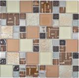 Transparentes Crystal Mosaik Glasmosaik silber braun Wand Fliesenspiegel Küche Dusche Bad
