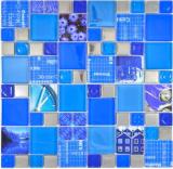 Transparentes Crystal Mosaik Glasmosaik silber blau Wand Fliesenspiegel Küche Dusche Bad