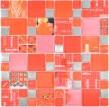 Transparentes Crystal Mosaik Glasmosaik silber rot Wand Fliesenspiegel Küche Dusche Bad