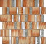 Aluminium Mosaik Glasmosaik ALU braun Wand Fliesenspiegel Küche Dusche Bad