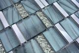 Aluminium Mosaik Glasmosaik ALU grau Wand Fliesenspiegel Küche Dusche Bad MOS88-0002_m
