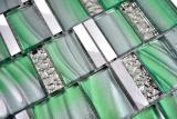 Aluminium Mosaik Glasmosaik ALU grün Wand Fliesenspiegel Küche Dusche Bad  MOS88-0005_m