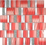 Aluminium Mosaik Glasmosaik ALU rot Wand Fliesenspiegel Küche Dusche Bad