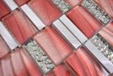 Aluminium Mosaik Glasmosaik ALU rot Wand Fliesenspiegel Küche Dusche Bad MOS88-0009_m