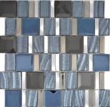 Aluminium Mosaik Glasmosaik ALU silber Wand Fliesenspiegel Küche Dusche Bad