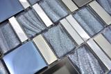 Aluminium Mosaik Glasmosaik ALU silber Wand Fliesenspiegel Küche Dusche Bad MOS88-0017_m